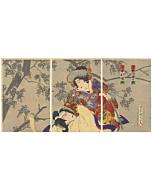 japanese woodblock print, kabuki play, traditional theatre, fox, cherry tree, sakura