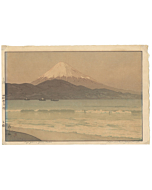 Hiroshi Yoshida, Miho Cape, Shin-Hanga, Mountain, Boats, Sea, Beach, Landscape, Original Japanese woodblock print