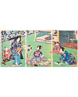 toyokuni III utagawa, tale of genji, kimono design, japanese design