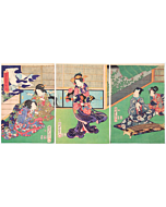 kunisada II utagawa, the tale of genji, kimono design, japanese fashion, japanese culture