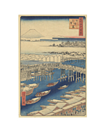 Hiroshige I, Nihon Bridge, One Hundred Famous Views of Edo, Japanese woodblock print, Japanese antique, Mount Fuji