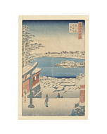 hiroshige ando, snow scene, shrine, landscape