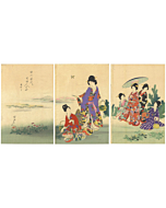 Chikanobu Yoshu, Horsetail Picking, Ladies of Tokugawa, Beauty
