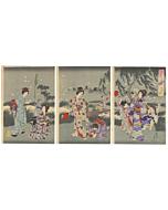 chikanobu yoshu, hotaru, fireflies, kimono design, japanese woodblock print, japanese antique