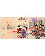original japanese woodblock print, japanese art, japanese festival, kimono design, kimono pattern, court ladies, matsuri, chikanobu