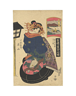 eisen keisai, courtesan, Meizan from Chojiya Tea House, kimono fashion, hawk and pine, beauty