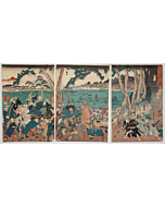 Kuniyoshi Utagawa, Vengeance at Iga Pass, Battle Scene