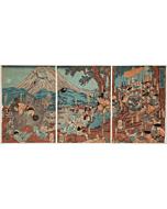 yoshitora utagawa, Lord Yoritomo Hunting at Fuji, landscape, warrior, shogun