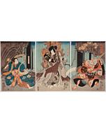 kuniyoshi utagawa, Kabuki Play 'Hana no Yuki Takeda no Kachidoki', theatre, actors, edo period