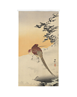 Koson Ohara, Pair of Copper Pheasants in the Snow