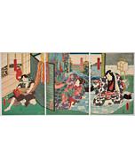 Toyokuni III Utagawa, Kabuki Play - Sanzeso Enishi no Oguruma