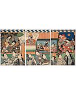 Toyokuni III Utagawa, Actors at the Theatre Entrance