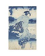 japanese woodblock print, japanese antique, blue pigment, kimono, kuniyoshi utagawa