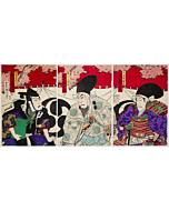 kunichika toyohara, kabuki theatre, traditional performance, japanese actors, cherry blossoms, sakura