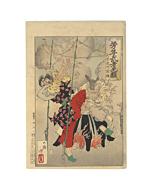 japanese woodblock print, japanese antique, ukiyo-e, warrior, yoshitoshi