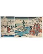 hiroshige II, toyokuni III utagawa, tale of genji, snow in the garden, mount fuji