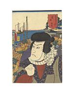 japanese woodblock print, japanese antique, kabuki, pirate, theatre, ukiyo-e, kunisada, toyokuni