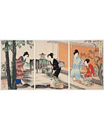 chikanobu yoshu, Court Ladies of the Chiyoda Palace, tea ceremony