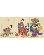 japanese woodblock print, japanese antique, kimono design, flowers, chikanobu
