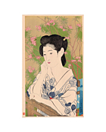 japanese woodblock print, japanese antique, portrait, kimono design, flower, goyo hashiguchi