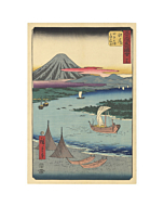 japanese woodblock print, japanese antique, ukiyo-e, landscape, mount fuji, hiroshige, boat, river
