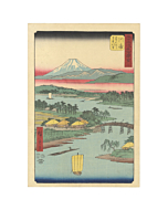 japanese woodblock print, japanese antique, ukiyo-e, landscape, mount fuji, hiroshige