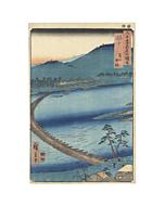japanese woodblock print, japanese antique, landscape, hiroshige, mountain, river