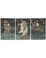 Toyokuni III Utagawa, The Spirit of Princess Yaegaki, Ghost Scene, Kabuki Theatre
