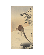 japanese woodblock print, japanese antique, ukiyo-e, koson ohara, snow, birds
