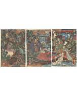 japanese woodblock print, japanese antique, ukiyo-e, warrior, samurai, legend, yoshiiku