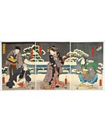 Toyokuni III Utagawa, Snow, Moon, and Flowers
