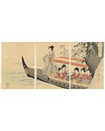 chikanobu yoshu, court ladies, boat trip