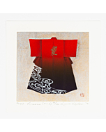 japanese woodblock print, kimono fashion, red, japanese contemporary art, love