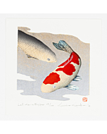 japanese woodblock print, koi carp, contemporary japanese art, gold leaf, silver leaf, kunio kaneko