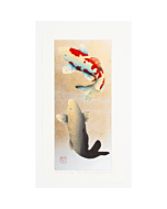 japanese woodblock print, contemporary japanese art, koi fish, koi carp, kunio kaneko, gold leaf