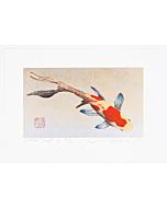 japanese woodblock print, japanese contemporary art, koi fish, gold leaf, kunio kaneko