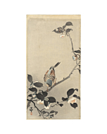 Koson Ohara, Bird, Bunting, Camellia Branch, Flowers, Animal, Original Japanese woodblock print