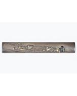 kozuka, sword fitting, iron, plover, birds, river, japanese sword, artisan, utility knife