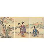 chikanobu yoshu, kimono design, maple leaves, waterfall, japanese woodblock print, chiyoda palace