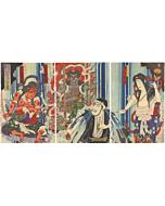Kunichika Toyohara, Kabuki Play, Buddhism, Waterfall, japanese woodblock print