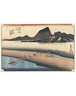 Hiroshige I, Oi river, landscape, japanese woodblock print, japanese antique