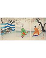 chikanobu yoshu, kemari, playing foodball, chiyoda palace