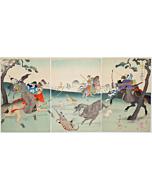 chikanobu yoshu, hunting, chiyoda palace
