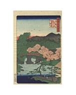 hiroshige II, otani bridge, sakura, japanese woodblock print, japanese antique