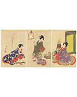 chikanobu, cockatoo parrot, kimono, japanese woodblock print, tokugawa
