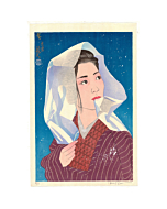 japanese woodblock print, contemporary art, kimono design, portrait, paul binnie