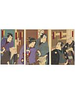 kunichika toyohara, kabuki theatre, traditional performance, meiji period, japanese actors
