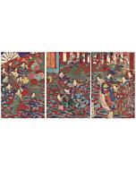 chikanobu yoshu, meiji red, kimono design, japanese pattern, emperor, flower collection