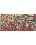 chikanobu yoshu, meiji beauties, teahouse, waterfall, japanese landscape, japanese garden, japanese design
