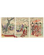 chikanobu yoshu, chiyoda palace, kimono design, cherry blossom, sakura, mount fuji